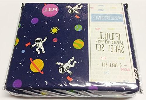 sheet set blue astronaut space