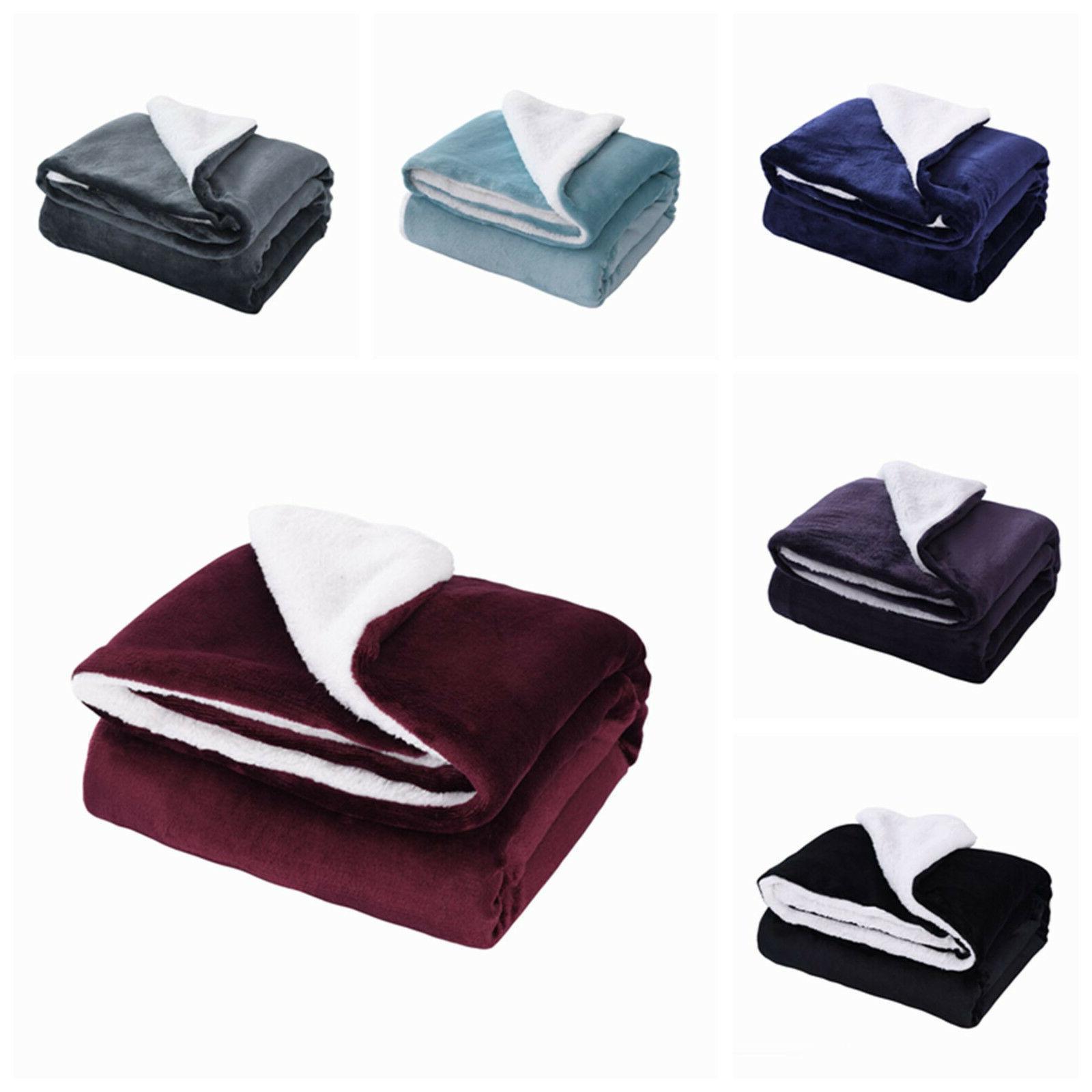 sherpa throw blankets velvet reversible solid blanket