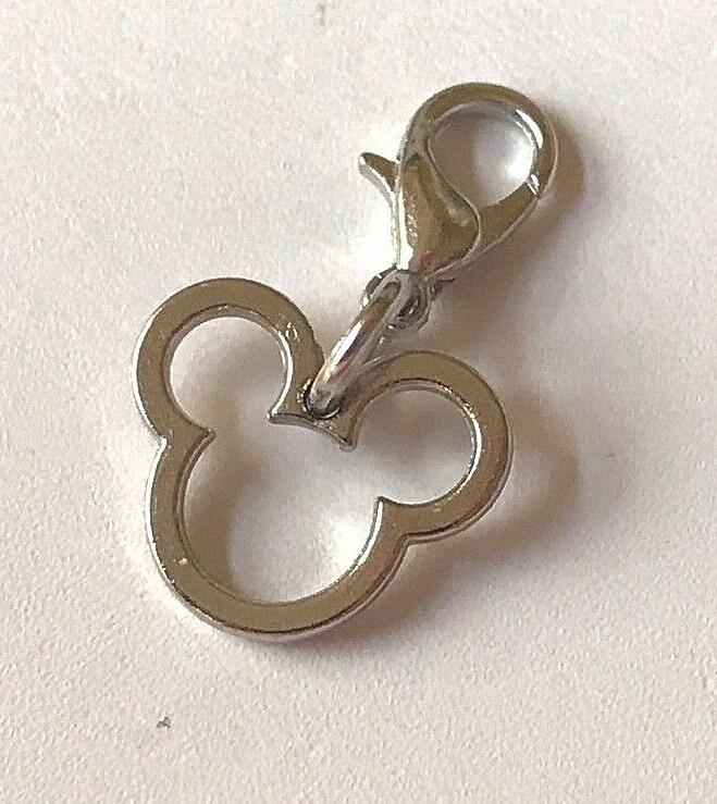 Silver Mickey Charm On Disney Bracelet Zipper Tag