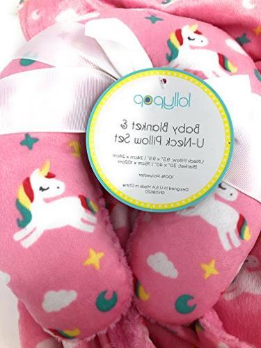 Lollypop Pink Baby Blanket Gift Set | Unicorn, Stars, Moon | 30x40in