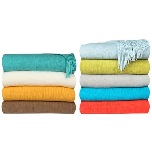 Acrylic Knitted Throw Blanket w/ Fringes for Couch Sofa Bed