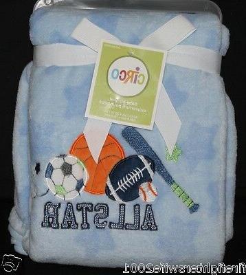 sports baby blanket 30x40 blue football basketball