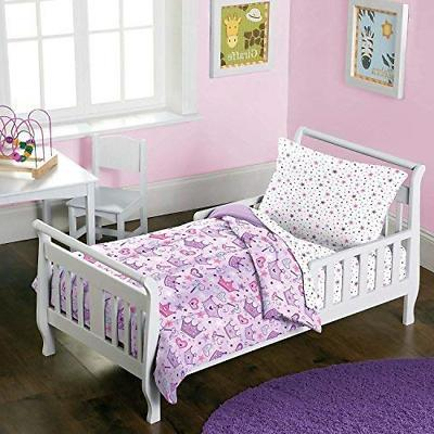 dream FACTORY Stars & Crowns 4-Piece Bedding Set, Multi, Tod