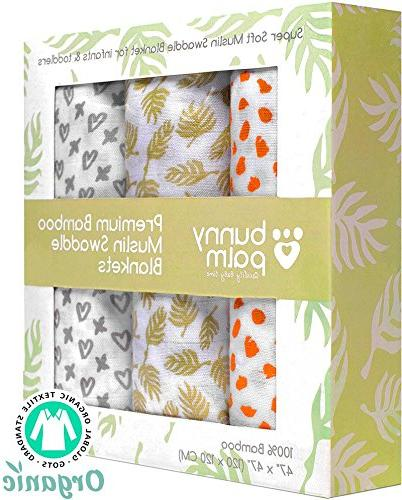 Swaddle Blanket Organic Muslin Bamboo - Newborn Boy and Girl