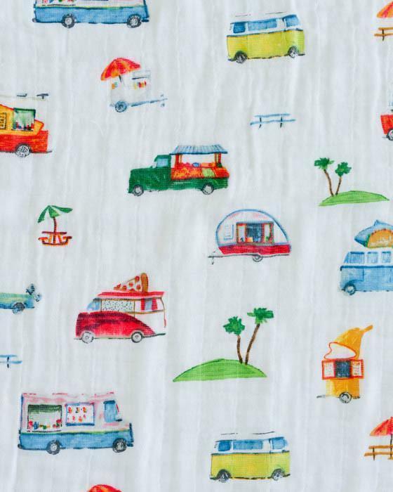 Little Muslin Baby Blanket Truck