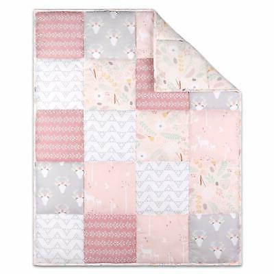 2 Pc Cloud Island Pink Lemonade Knit Baby Blanket & Crib She