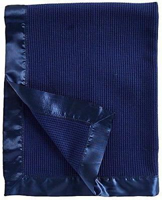 Thermal Waffle Weave Baby Blanket with Satin Nylon Trim Navy