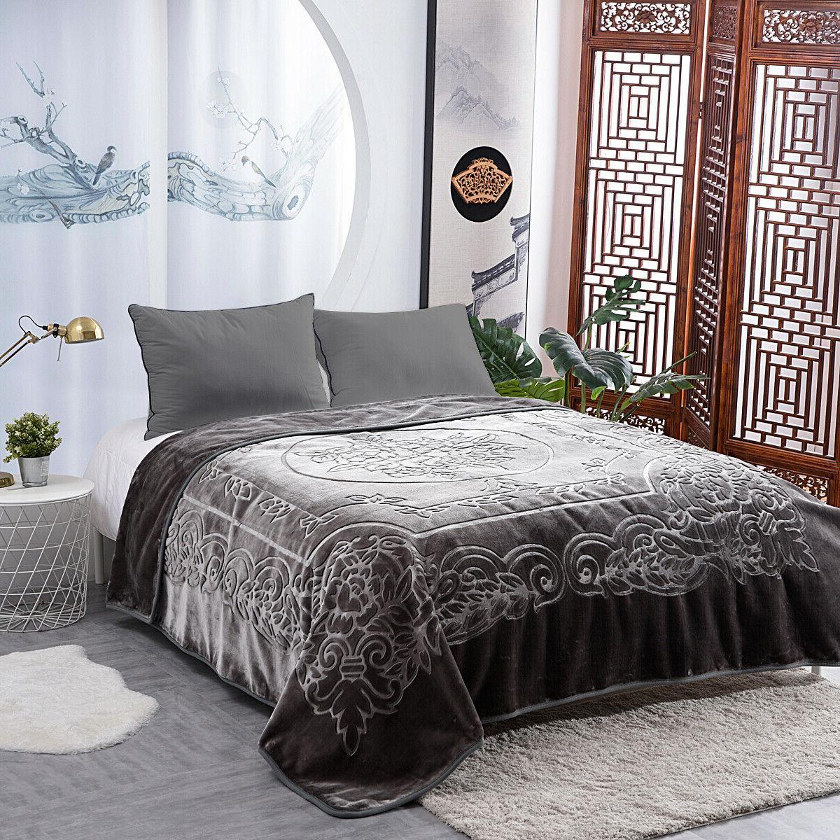 "Heavy Mink Plush Blanket Embossed Pattern 800GSM 85""x95"""