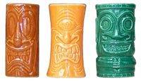 Tiki Shot Glasses 2 Oz. Comes with Green, Orange, and Brown