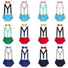 Toddler Kid Boy Cake Smash Outfit Diaper Cover Suspenders Bo