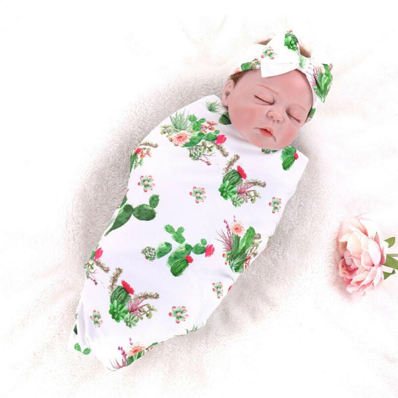 Headband Sleeping Swaddle Cactus Printed Baby Swaddle Blanke