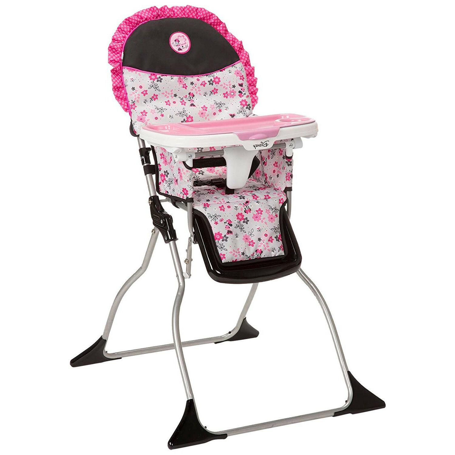 Pink Feeding High Chair Tray Strap Minnie Mouse Seat New