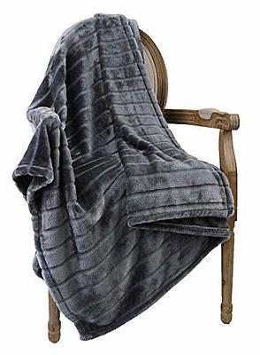 Ultra Velvet Plush Super Soft Decorative Stripe Throw Blanke