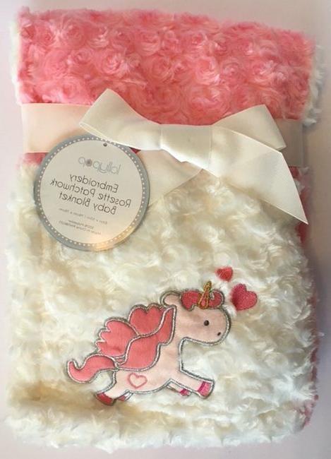 unicorn baby blanket for girls rosette silky