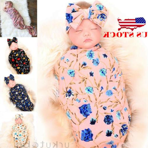 US Newborn Baby Swaddle Blanket Print Sleeping Wrap+Headband Set