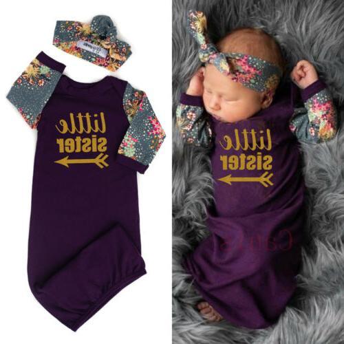 US Little Sister Newborn Baby Girls Swaddle Wrap Blanket Rom