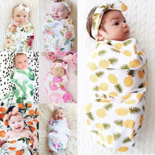 2pcs Newborn Infant Baby Boy Girl Swaddle Muslin Blanket Wra
