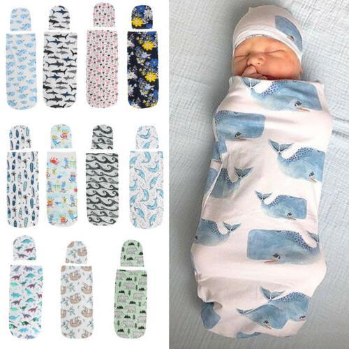 US 2PCS Girl Swaddle Wrap Blanket Sleeping Set