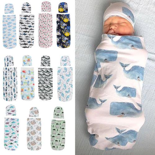 US 2PCS Girl Swaddle Wrap Blanket Sleeping Set