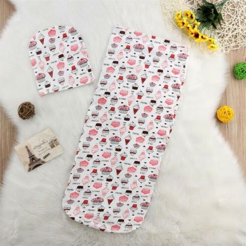 US Newborn Baby Girl Boy Wrap Blanket Bag+Hat Set