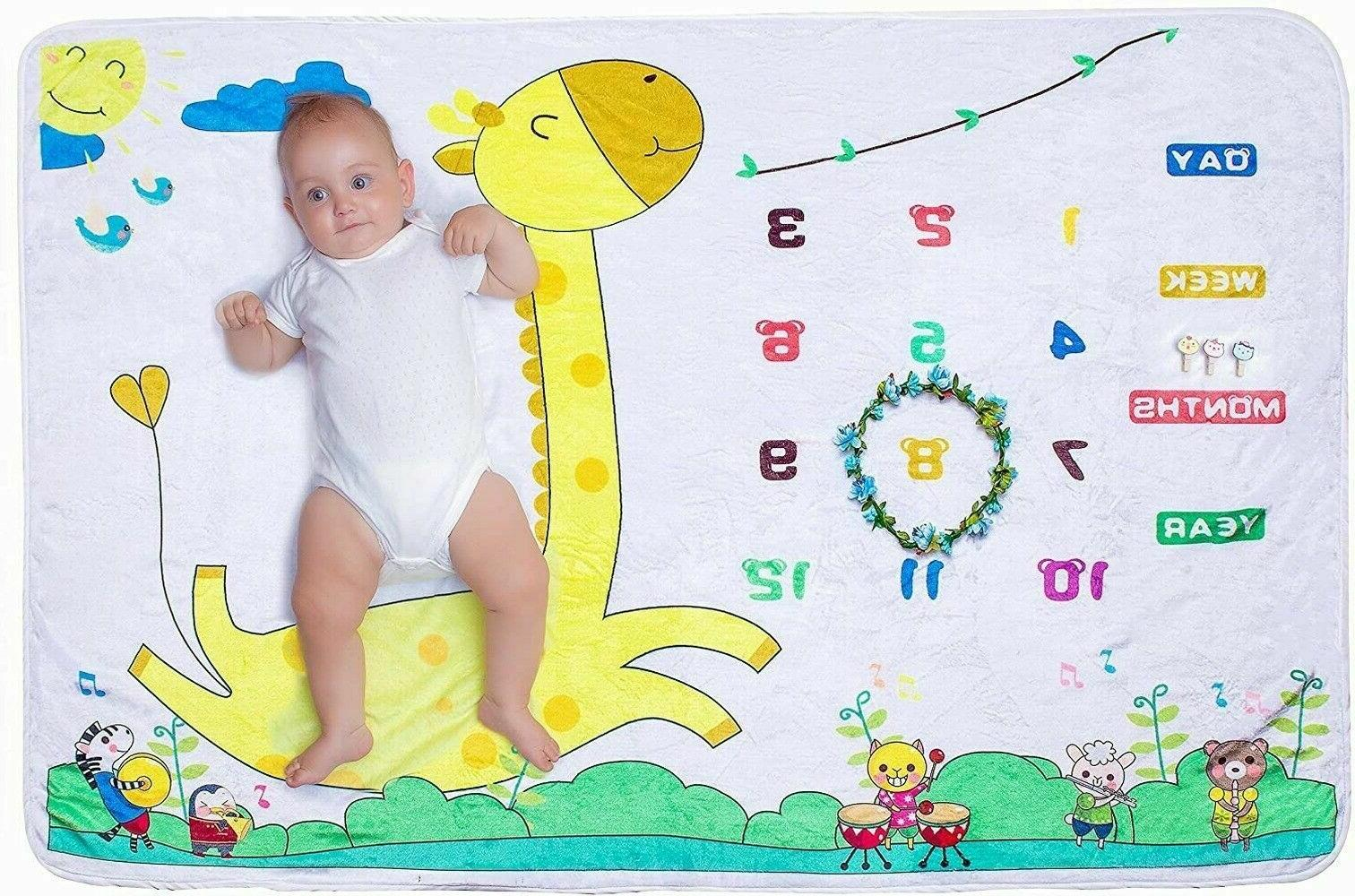 US Baby Shower Mat Milestone Blanket gift Photography Prop M