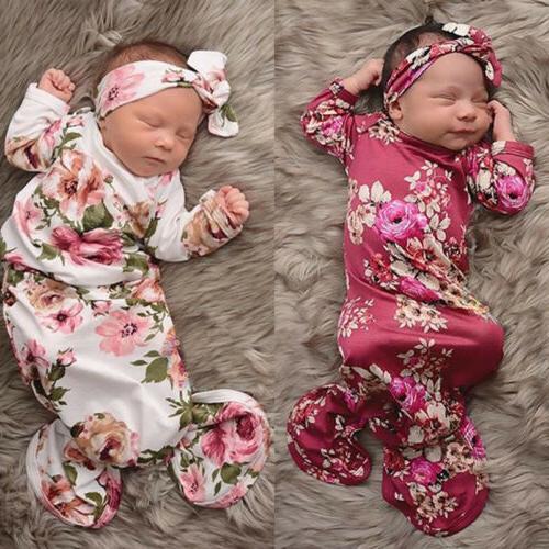 US Cute Baby Girl Flower Swaddle Long Sleeping Bag+Headband
