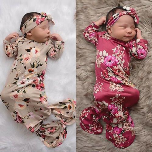 US Flower Girl Swaddle Blanket Sleeping Bag+Headband Set