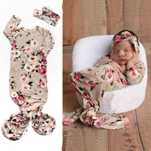 US Newborn Girl Sleeping Bag+Headband Set