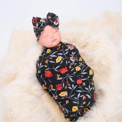 US 2Pc Newborn Baby Print Sleeping Wrap+Headband