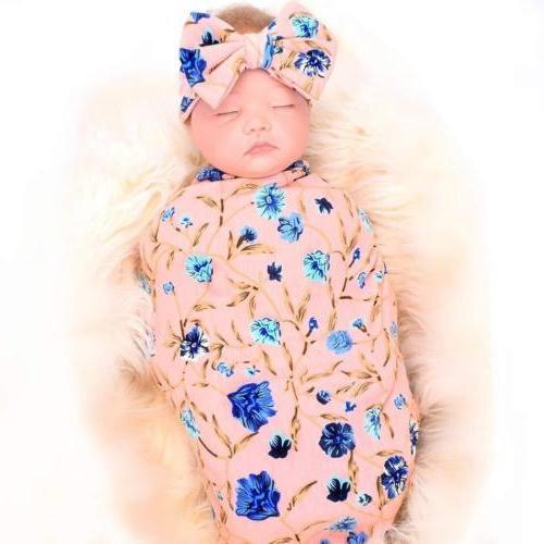 US Baby Blanket Sleeping Wrap+Headband