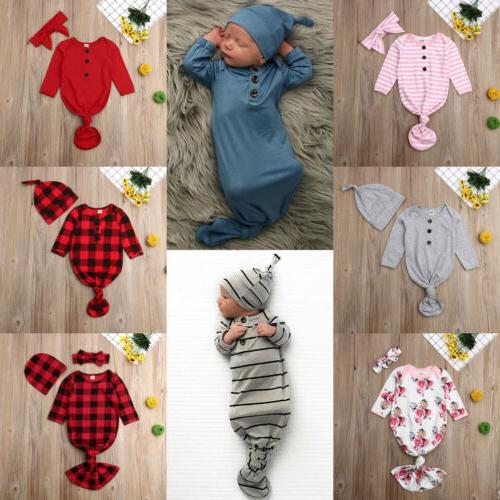 US Newborn Swaddle Blanket Swaddle Muslin Wrap+Headband/Hat Set