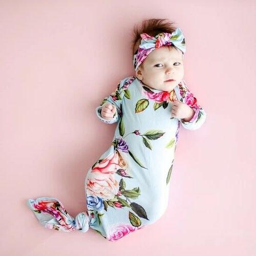 US Blanket Swaddle Muslin Wrap+Headband/Hat Set