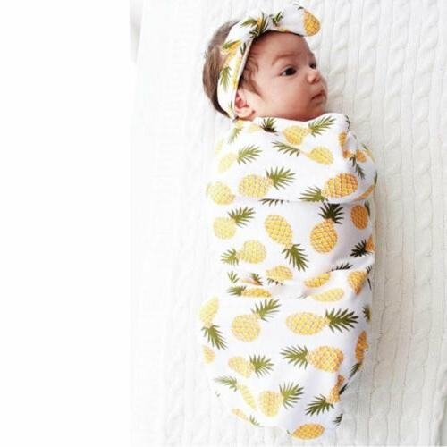 USA Floral Swaddle Wrap Bag Headband