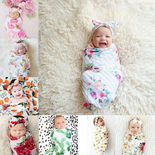USA Newborn Baby Swaddle Wrap Swaddling Bag Headband
