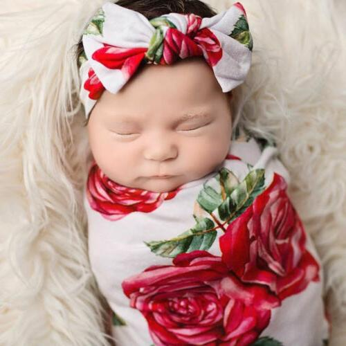 USA Baby Floral Swaddle Wrap Sleeping