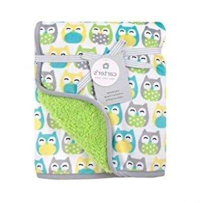 Carter's Velour Sherpa Blanket - Grey Owl Print
