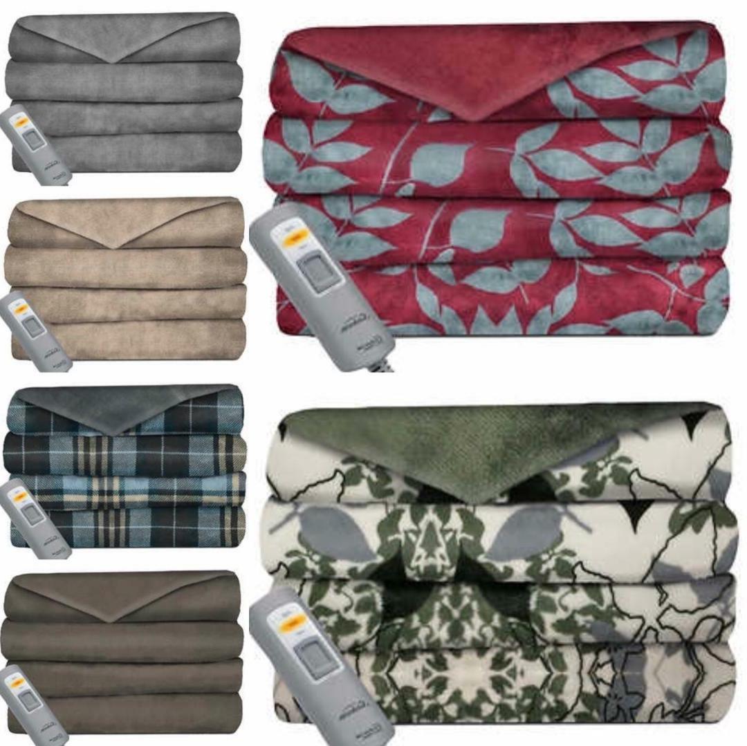 Sunbeam Velvet Heated Throw Blanket No ~ Free Shipping