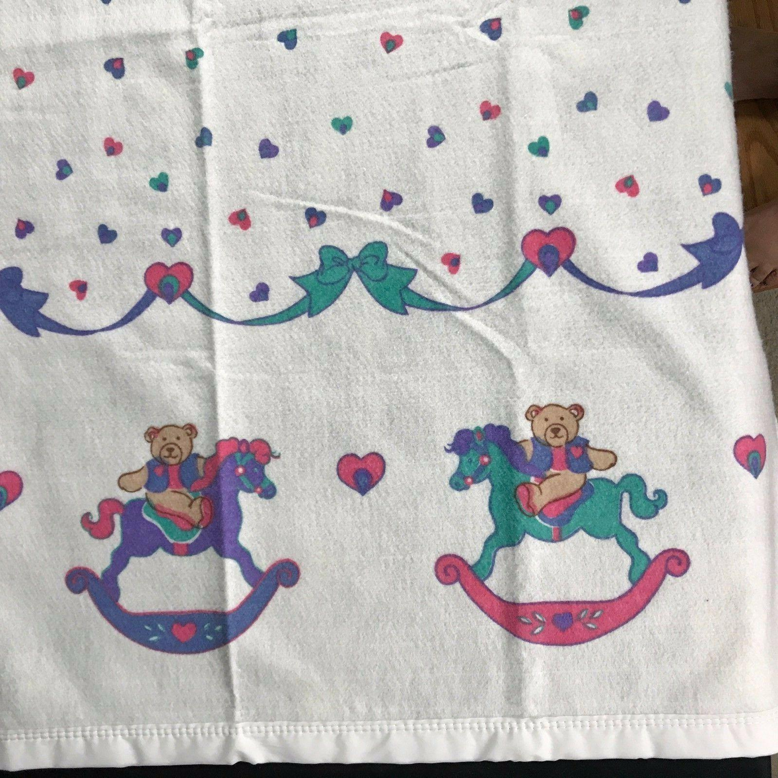 Vintage Blanket Rocking Horse Bows Polyester x New Tag