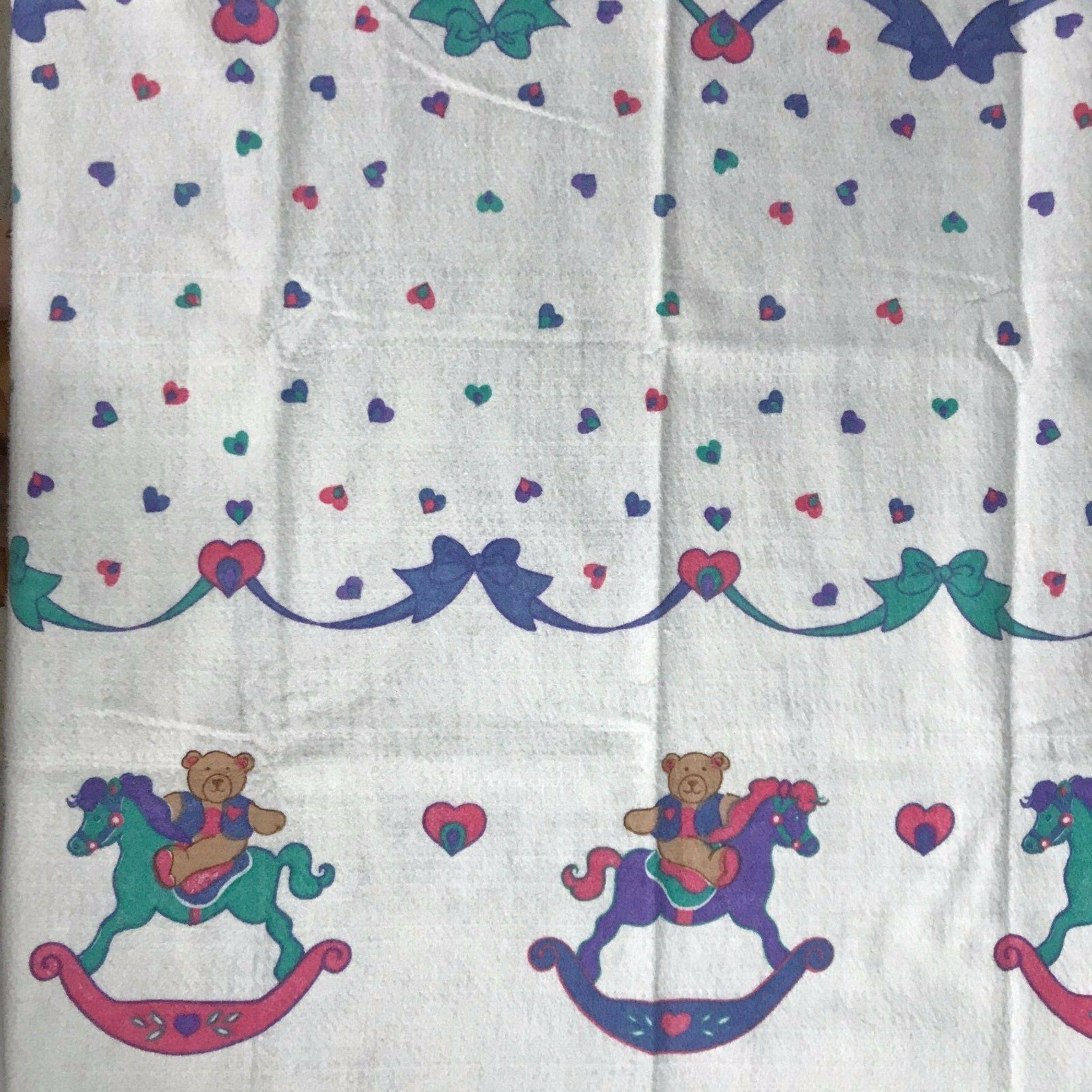 vintage baby blanket bear rocking horse bows