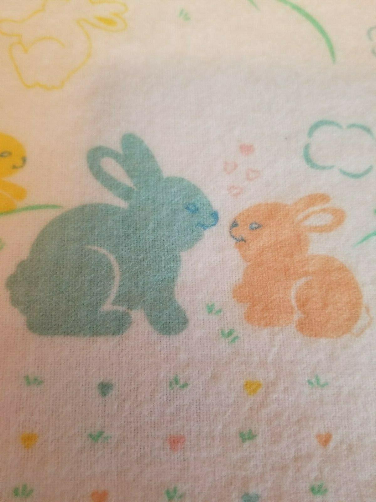 Vintage Bunny Rabbits Baby Receiving Blanket Flannel Cotton