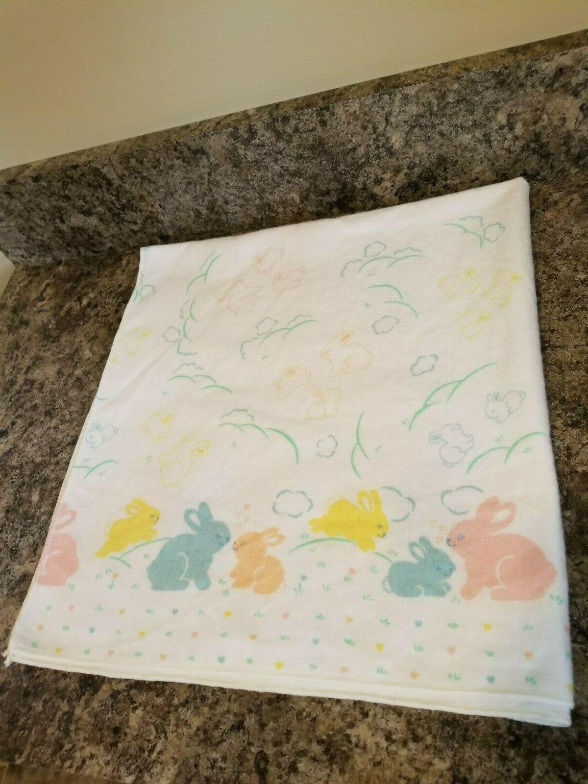 vintage bunny rabbits baby receiving blanket new