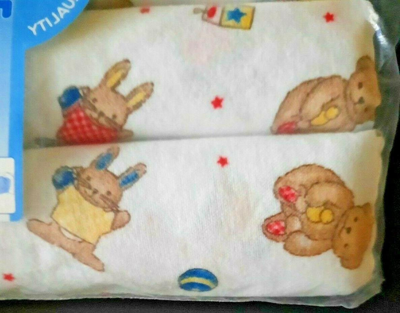 Vintage Flannel Blanket Bears Bunnies Pack in
