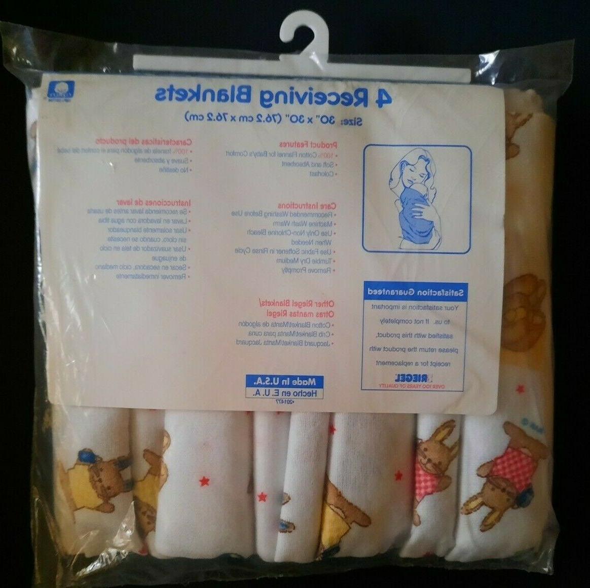 Vintage Flannel Blanket Teddy Bears Bunnies 4 Pack in USA