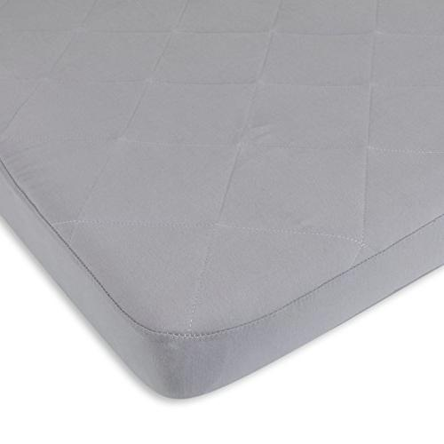 Waterproof Cotton Quilted Pack n Play Sheet | Mini Crib New Fit Added Protection in one Cover Cozy Grey by Co