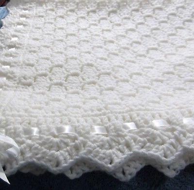 White Baby Blanket Boys Girls Crochet White Ribbon New Hand
