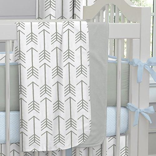 white gray arrow crib blanket
