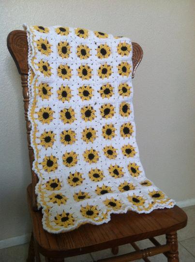 yellow sunflower crochet baby blanket nursery baby