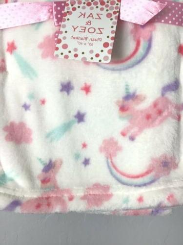 Zak Zoey Baby Girls Infant Pink White Rainbows Plush