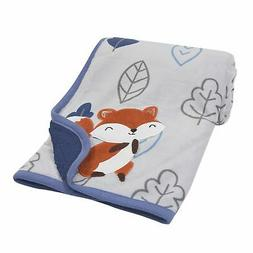 Lambs & Ivy Little Campers Blue/Gray Fox with Leaves Sherpa