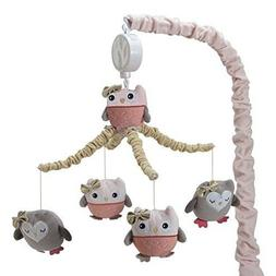 Lambs Ivy Family Tree Coral/Gray/Gold Owl Musical Mobile